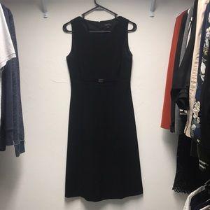 Belted Tahari Arthur S. Levine black sheath dress